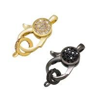 ZHUKOU 12x19mm gold und schwarz kristall verschluss haken für frauen DIY handgemachte halskette armband schmuck zubehör modell: VK84
