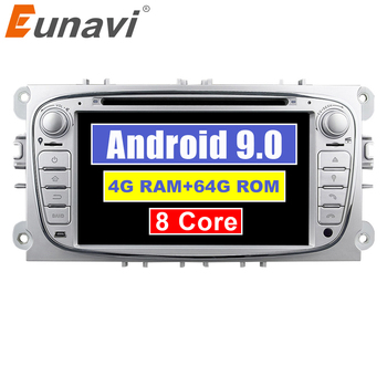 Eunavi 2 Din 7'' Android 9 4G 64GB Car Multimedia DVD GPS for Ford Focus Mondeo S-Max Cmax Galaxy 2din Radio Stereo CD Player