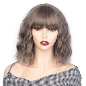 Image 2 - AISI BEAUTY 12Bob Wig Synthetic Wig Womens Water Wavy Wigs With Bangs Brown Black Purple Natural Hair Wig Daily Cosplay Wigs