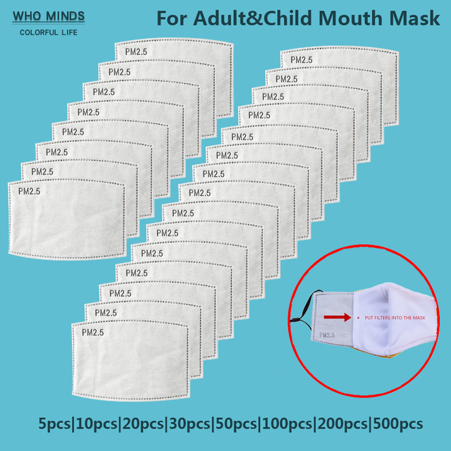 5 layers Protective PM2.5 Filter Mask Disposable Mouth mask Filter Anti Dust Face Mask Anti Flu Mask For Adult Kid mascarilla