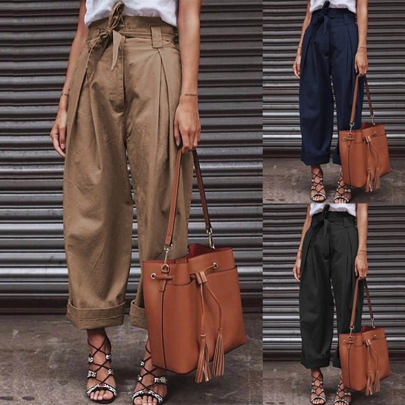 ZANZEA Women Paper Bag Pants Cotton Linen High Waist Wide Leg Pants Female Fashion Zipper Up Belted Chic Work Trousers Pantalon