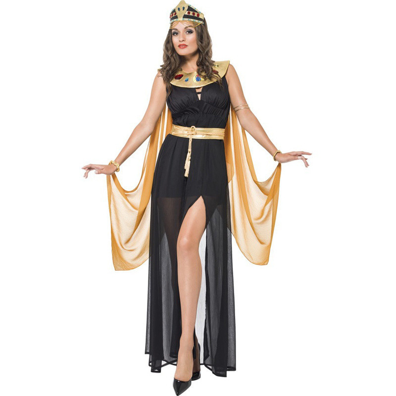 3 Pcs Sexy Egyptian Cleopatra Costume Ladies Cleopatra Roman Toga Robe Greek Goddess Fancy Dress Costume Outfits Gold