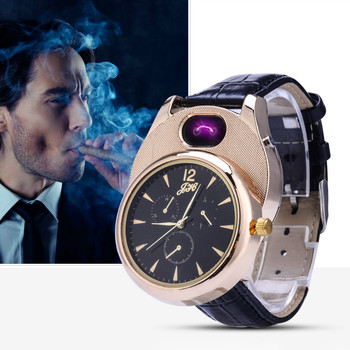 Watches Men Lighter Casual Quartz Watch Arc Windproof Flameless USB Charge Cigarette Watch Lighter Clock man gifts JH338 1PCS rechargeable flameless windproof cigarette lighters usb charging usb lighter watch men casual quartz wristwatches gift for men