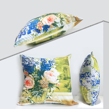 Garden Oil Painting Double-sided Polyester Cushion Cover Sofa Decoration American Country Flower Pattern Home Throw Pillowcase