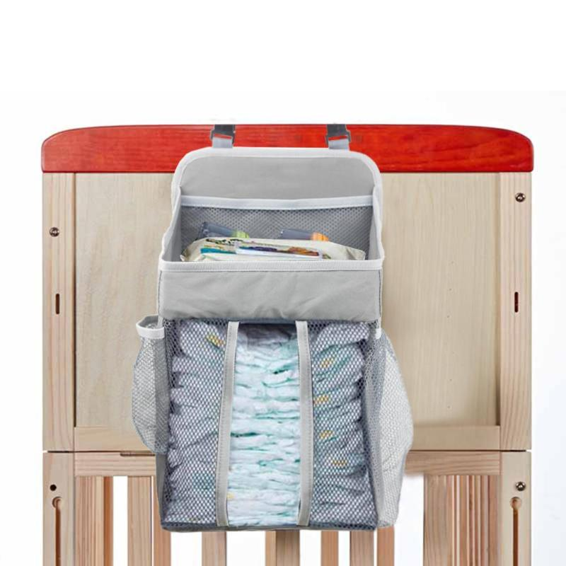 Baby Crib Hanging Bags Hot Selling Soft Surface Safety Breathable Durable Portable Bedside Organizer Diaper Storage Bag Box