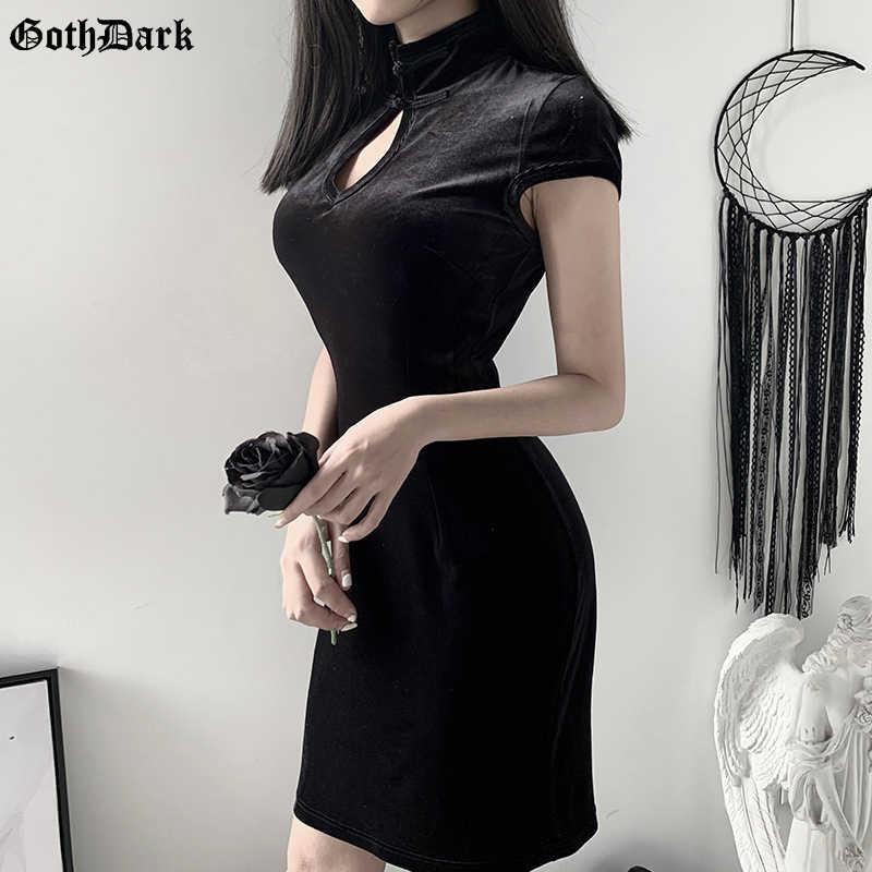 Goth Dark Vintage Gothic Bodycon Harjauku Vrouwen Jurk Zomer 2020 Cheongsam Chic Hol Y2K Egirl Vrouwelijke Jurken Esthetische