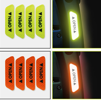 4Pcs / set of car OPEN reflective belt warning sign reflective for Mitsubishi ASX Outlander Lancer Evolution Pajero Eclipse Gran image