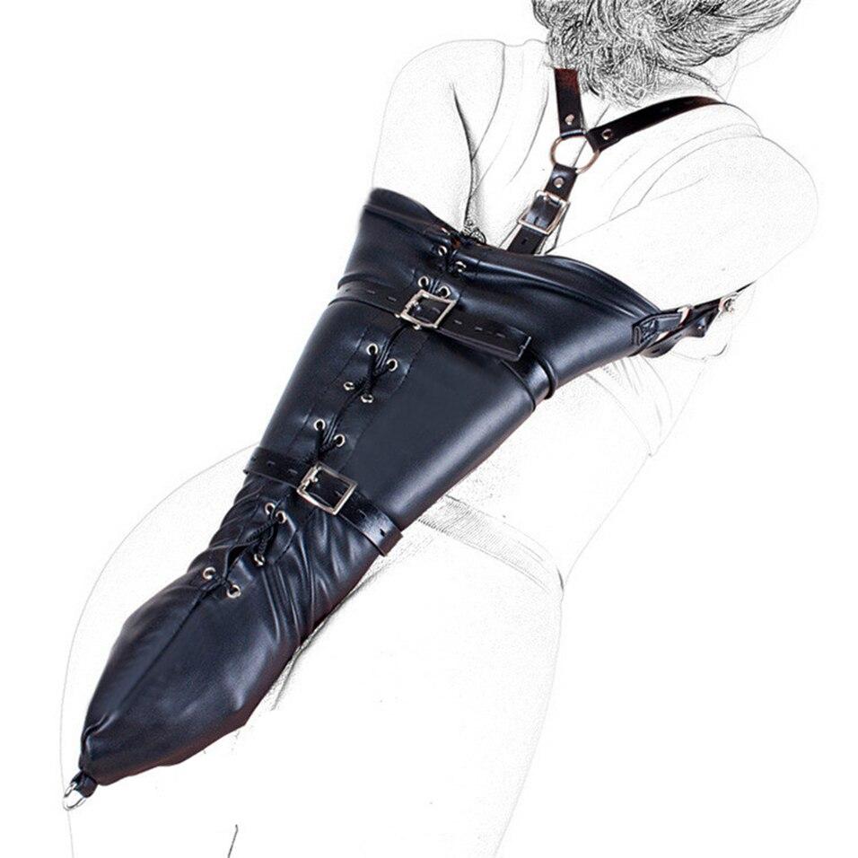 Faux leather bondage arm restraints belt waist hand cuffs slave body harness sm