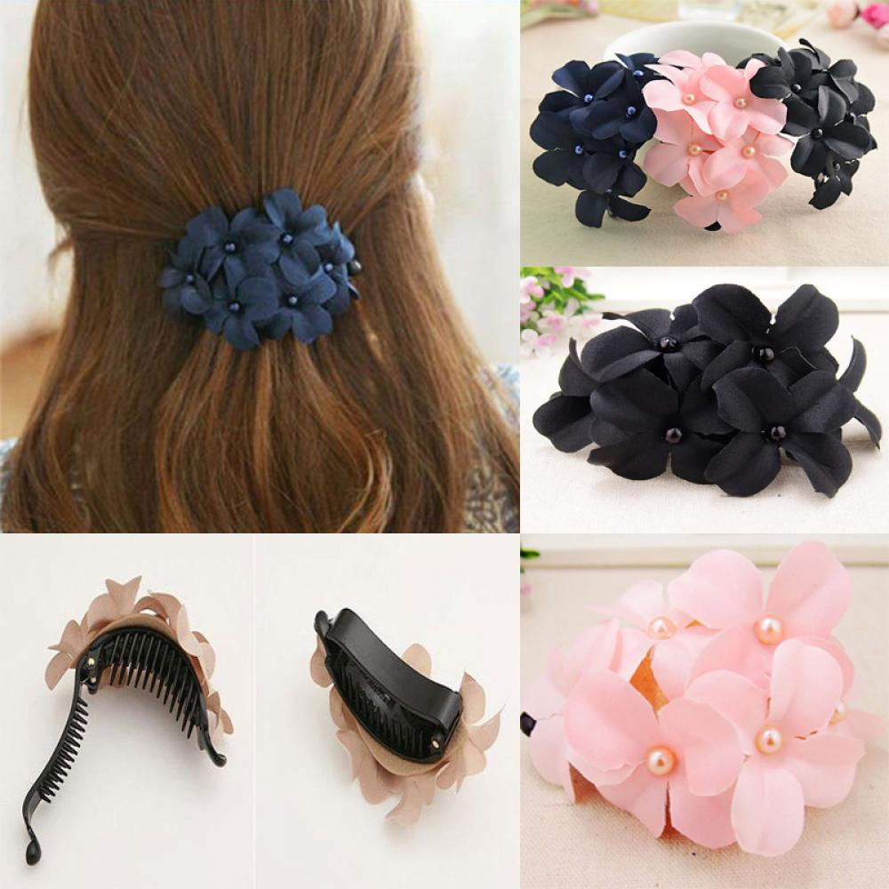 Women's Fashion Hair Accessorie Chic Girl Handmade Hairgrip Flower Banana Barrette Hair Clip Hair Pin Claw