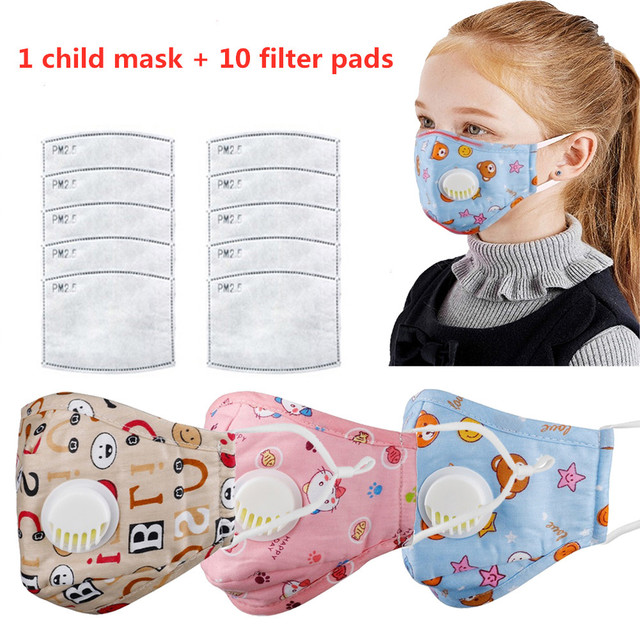 4 Layer Kids Mask Reusable Children Mask with 10 Filters Kids Mouth Mask Anti-Fog Haze Dust Pm 2.5 Face Mask Breathable Valves