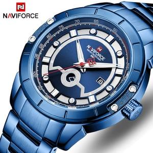 Image 1 - Relojes deportivos para hombre de marca de moda NAVIFORCE, relojes de pulsera militares de acero inoxidable de cuarzo para hombre, reloj Masculino