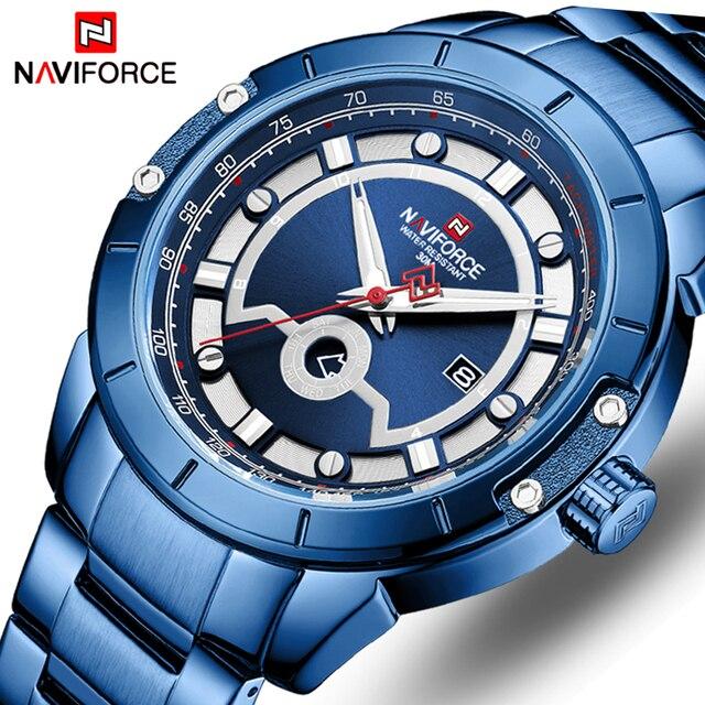 Relojes deportivos para hombre de marca de moda NAVIFORCE, relojes de pulsera militares de acero inoxidable de cuarzo para hombre, reloj Masculino