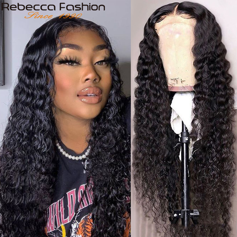 Rebecca Deep Wave 360 Lace Frontal Wig Deep Curly Lace Front Human Hair Wigs Pre Plucked Brazilian Human Hair Lace Wigs 30 Inch