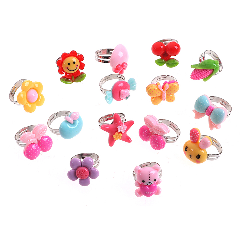 10Pcs/lot Random Adjustable Cartoon Rings For Girls Dress Up Accessories Party Kids Toy