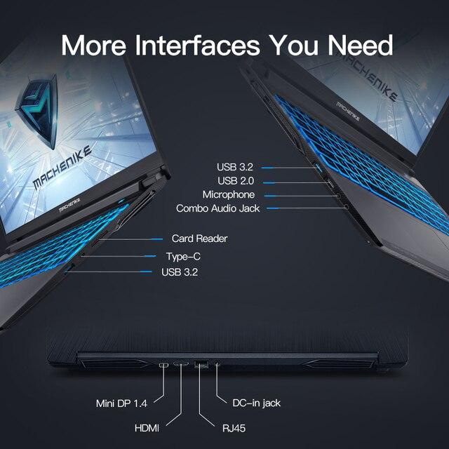 Machenike T58-VB i7 Gaming Laptop i7 10750H GTX 1650Ti 8GB RAM 512G SSD 15.6'' Ultra border IPS i7 notebook Metal A shell 6