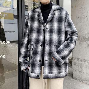 Winter Plaid Woolen Coat Men's