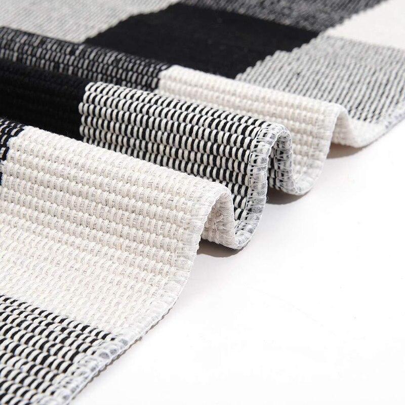 Cotton Lattice Black And White Lattice Floor Mat Doormat Kitchen Bathroom Outdoor Porch Laundry Woven Carpet  For Living Room