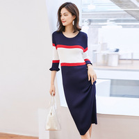 2019 Spring And Summer New Style Long Crew Neck Contrast Color Sweater Dress Slim Fit Short Puff Sleeve Sheath Long Skirts Women