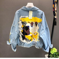 Yocalor 2019 Autumn Winter Hand painted Pattern Chic Coat Letters Print Cool Girl Denim Jacket Fashion Pockets BF Outwear