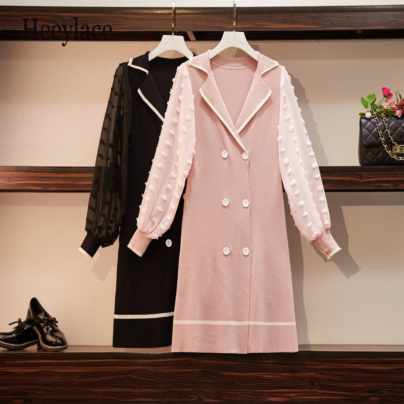 Plus Size Fashion Brand Women Autumn Dress 2019 Long Sleeve Lace Patchwork Perspective Vestidos V-neck Black Dress Vintage