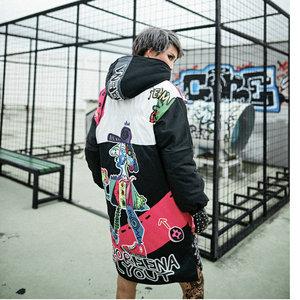 Image 4 - 冬の女性のジャケットジッパーパーカーストリートグラフィティプリントカジュアル厚い綿のコート女性のための原宿ヒップホップジャケット
