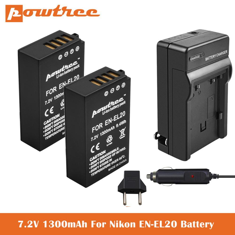 Bateria + Carregador para Nikon Coolpix EN-EL20A P950 P1000 DL24-500 Coolpix UM, 1 AW1, 1 J1, 1 J2, 1 J3, 1 S1, 1 V3 Câmera Digital