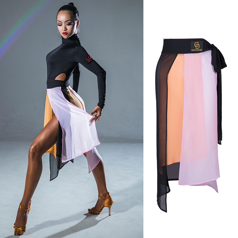 New Latin Dance Skirt Professional Practice Clothes Latino Dance Dress Adult Competition Dresses Gauze Dance Skirt Performance Wear DQS2941