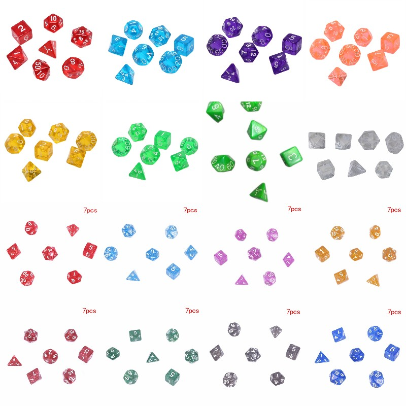 7Pcs/set Digital Dice Game Dungeons Dragons Polyhedral Multi Sided Acrylic Dice Colorful Accessories For Board Game,DnD, RPG