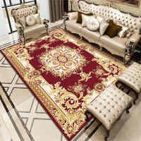 Home Decorative National Style Rugs Living Room Bedroom Carpets Anti Slip Flannel Floor Mat Soft Red Flower Corridor Area Rug