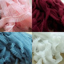 5CM Wide 3D Pleated Mesh Lace Fabric Pink White 9 Colors Ruffle Lace Trim DIY Collar Sewing Clothing Skirt Splicing Material