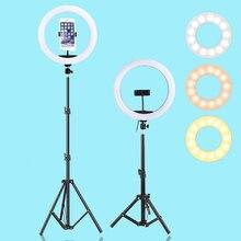 삼각대 홀더와 13inch 33CM LED Selfie 링 라이트 USB 사진 조명 Youtube VK vlog에 대 한 Dimmable 따뜻한 콜드 필 링 램프