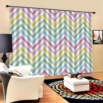 Curtain Decoration 3D Brief Color stripes Curtains For Bedroom Living room Polyester Room Curtain custom curtains