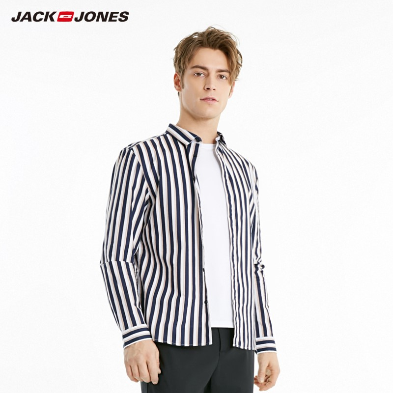 JackJones Men's 100% Cotton Straight Fit Style Contrasting Stripe Long-sleeved Shirt 219105558