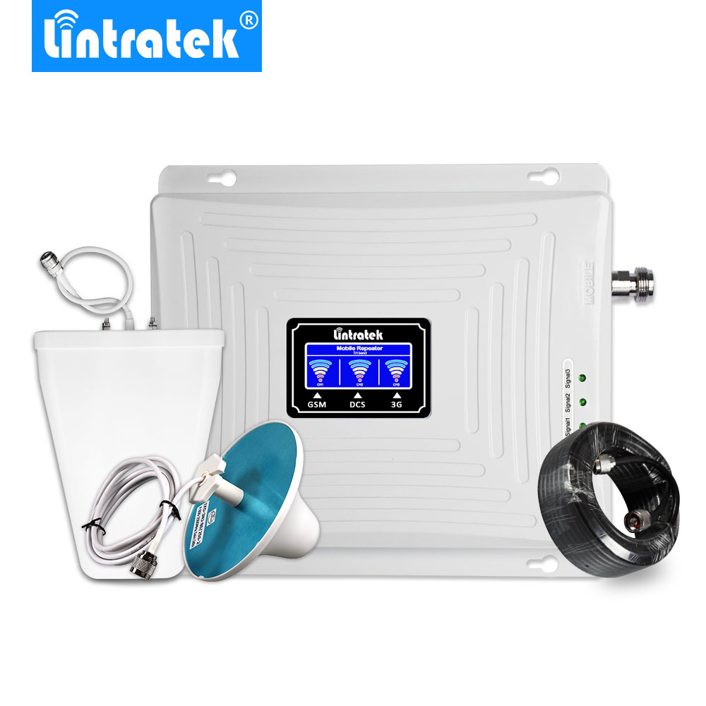 Lintratek Triple Band Signal Booster 2G 3G 4G LTE 900 1800 2100 Mhz Mobile Phone Cellular Signal Repeater GSM WCDMA Amplifier @