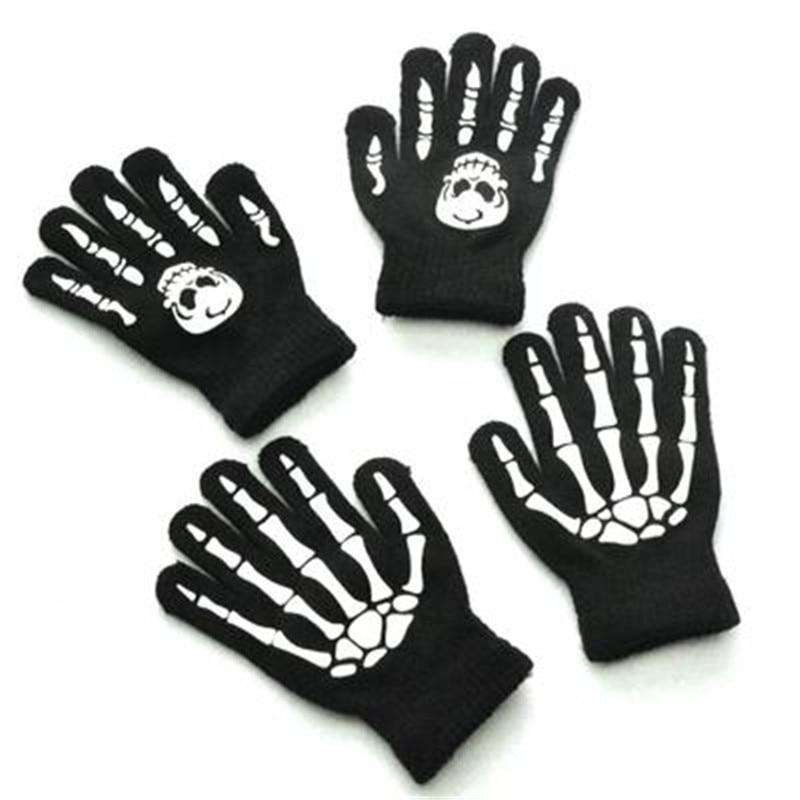 Warm Winter Finger Gloves Kids Children Men Women Luminous Halloween Skeleton Ghost Claw Black Elastic Fashion Accessories-QSD