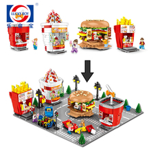 Sembo city Mini Street Shop Building blocks Micro Store Model hamburge rice cream Educational Kids toys for kids Gifts legoingly hsanhe new street store plastic building blocks mini shop architecture dinosaur museum educational brinquedos for kids xmas gift