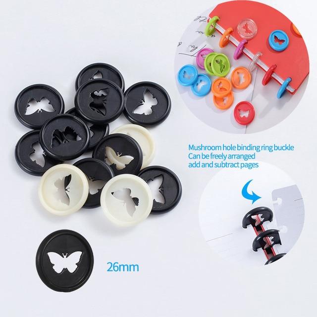 Anneau de reliure papillon en plastique, anneau de reliure rond en forme de champignon, avec boucle de disque, fournitures de reliure, bricolage, 12 pièces, 26MM