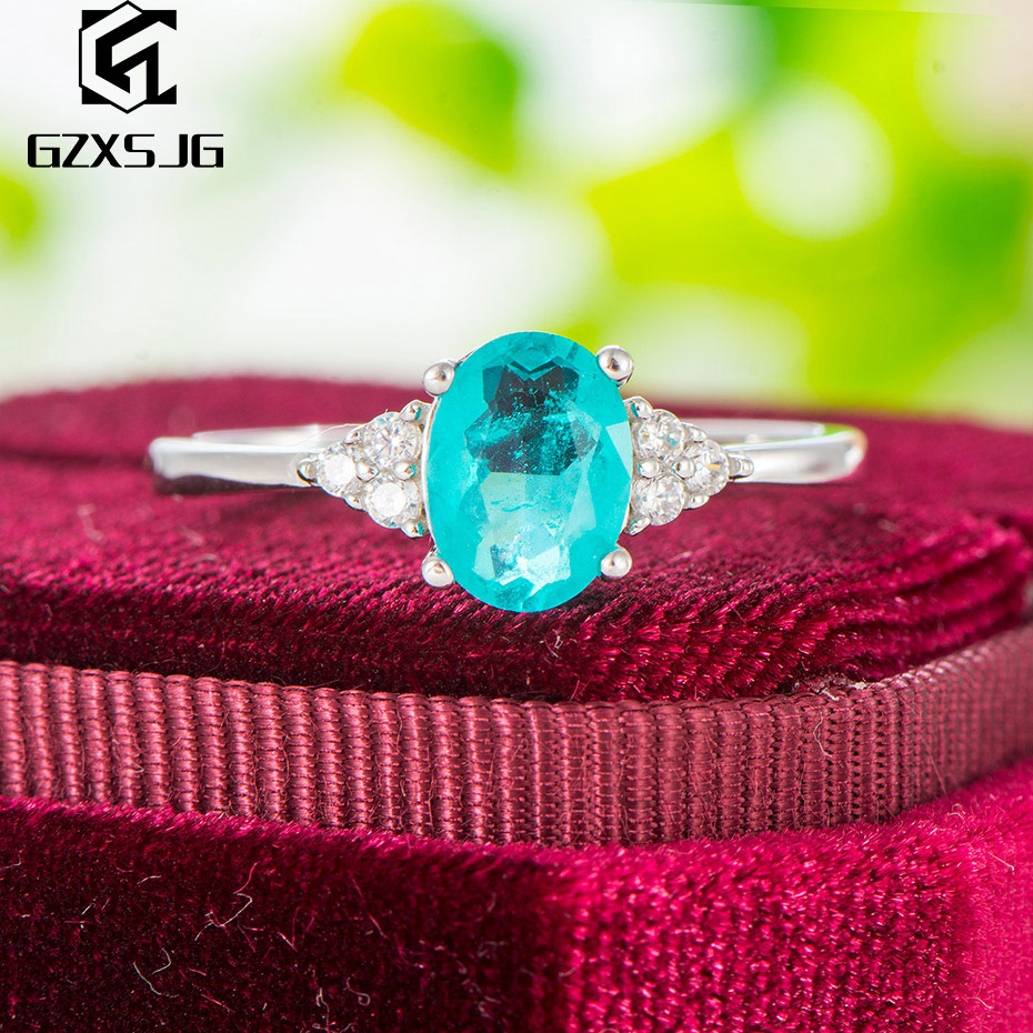 GZ Brazilian Paraiba Tourmaline Gemstones Ring For Women Genuine 925 Sterling Silver White Rhodium Ring For Engagement Size 4 10