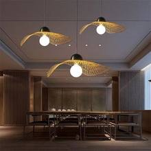 Asia bamboo weaving art chandelier personalized restaurant tea room decoration lamp modern simple restaurant lighting(China)