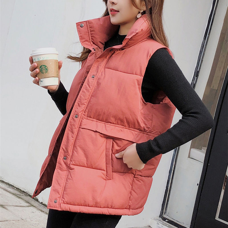 Vest Women Plus Size Students Winter Clothes Cold-proof Black Casual Waistcoats Womens New Arrivals Ulzzang With Pockets Vests