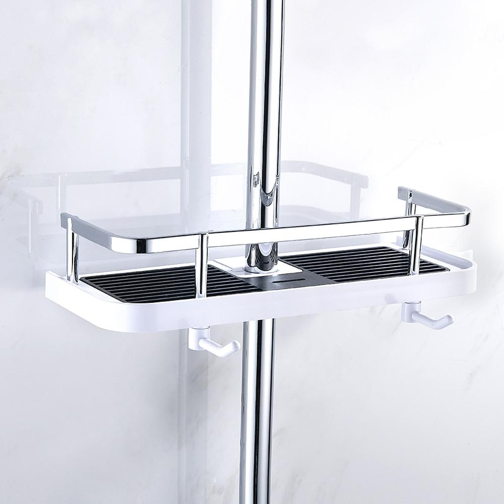 Bathroom Shower Tray Lift Rod Shower Head Bracket Pole Storage Rack Holder Organizer Shampoo Towel Shelf Single Tier Home