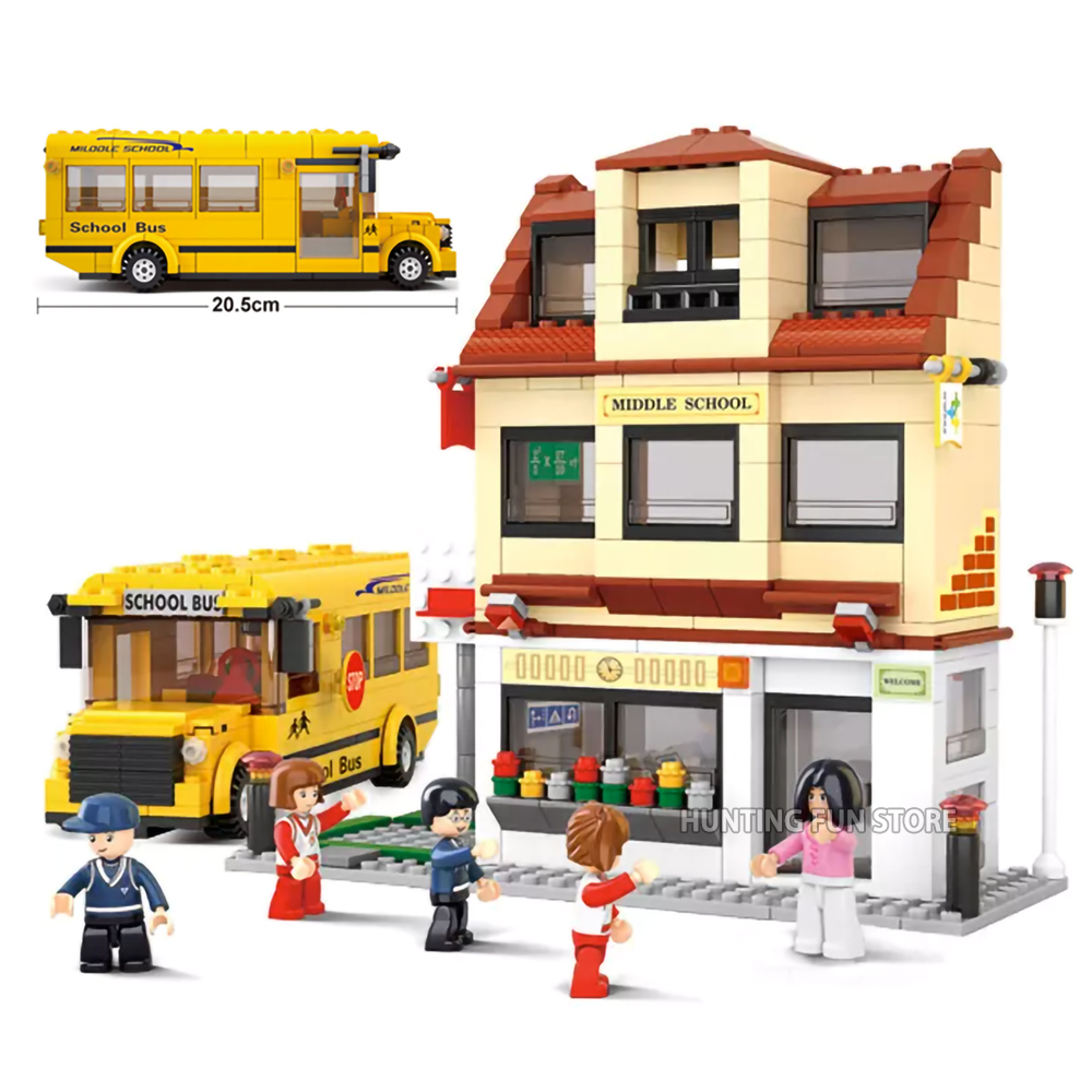 Fit  City Series Yellow School Campus Bus CVS Set Figures Key Ring Educational Building Blocks Toy For Children Gifts