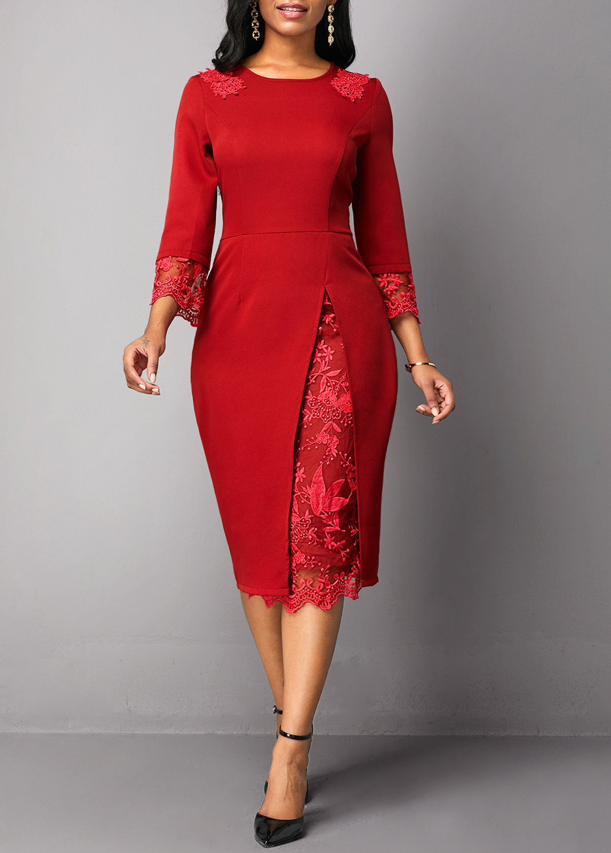 Autumn Women 2019 New Red Solid Color S-5xl Large Size Elegant Lace Stitching Slim Dress Plus Size Office Work Dress Vestidos