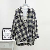 Good Qualtiy Autumn Long Sleeve Plaid Cotton Shirt Women Plus Size Turn Down Collar Loose Casual Regular Womens Blouse Shirts