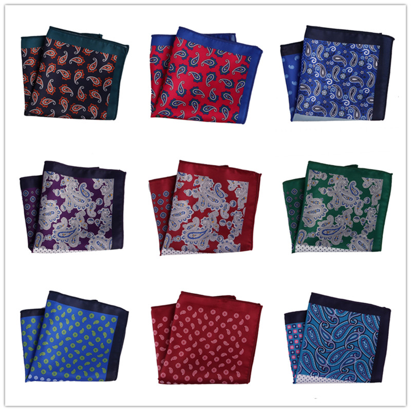 New Men's Handkerchief Pocket Square Polyester Silk Floral Printed Hankies Hanky Business  Chest Towel Wedding Party  MPK98-130
