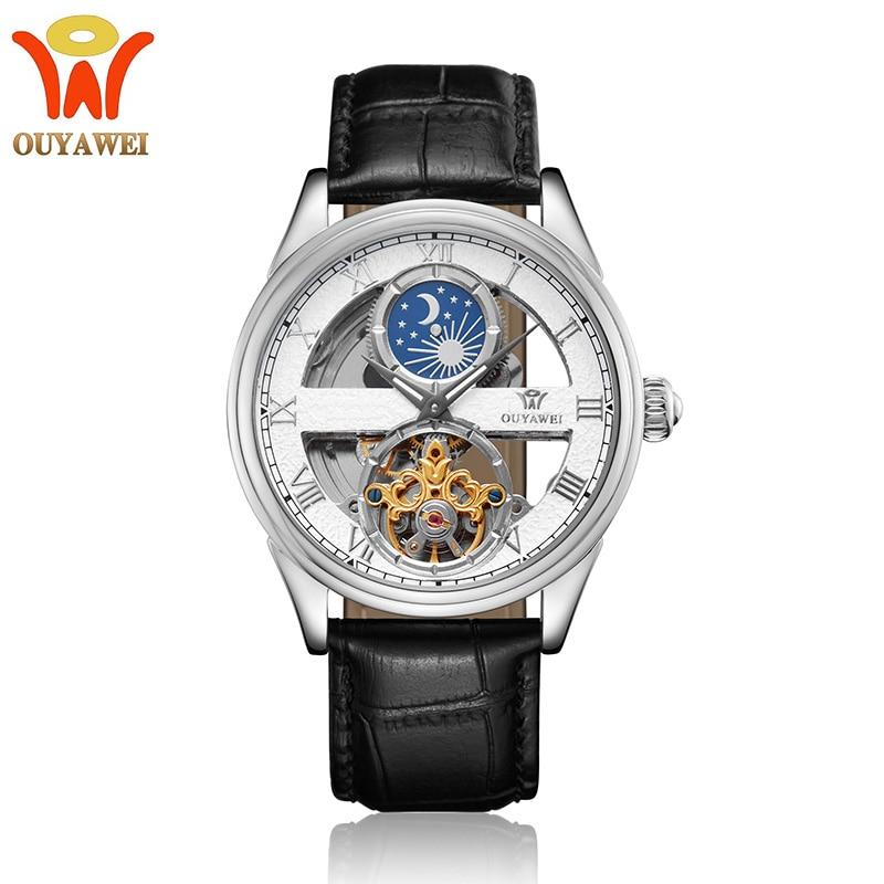 OYW Automatic Mechanical Men Wristwatch Fashion Silver Waterproof Man self Winding Leather Watch Tourbillon Relogios Masculinos