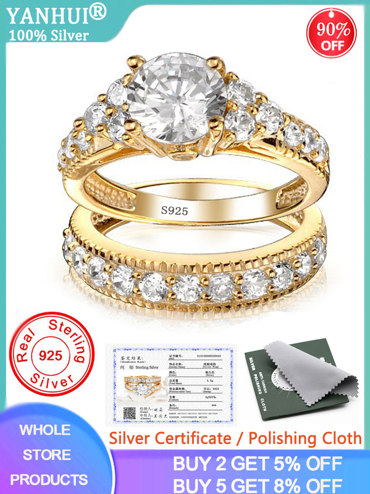 Rings-Set Bride Silver Certificate Natural-Zirconia Pure Gold Women Solid Wedding