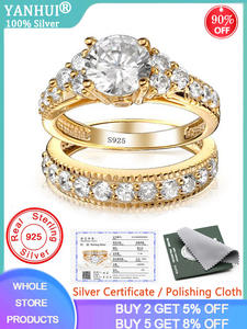Rings-Set Bride Silver 925 Gold Certificate Women Solid Pure Natural-Zirconia Wedding