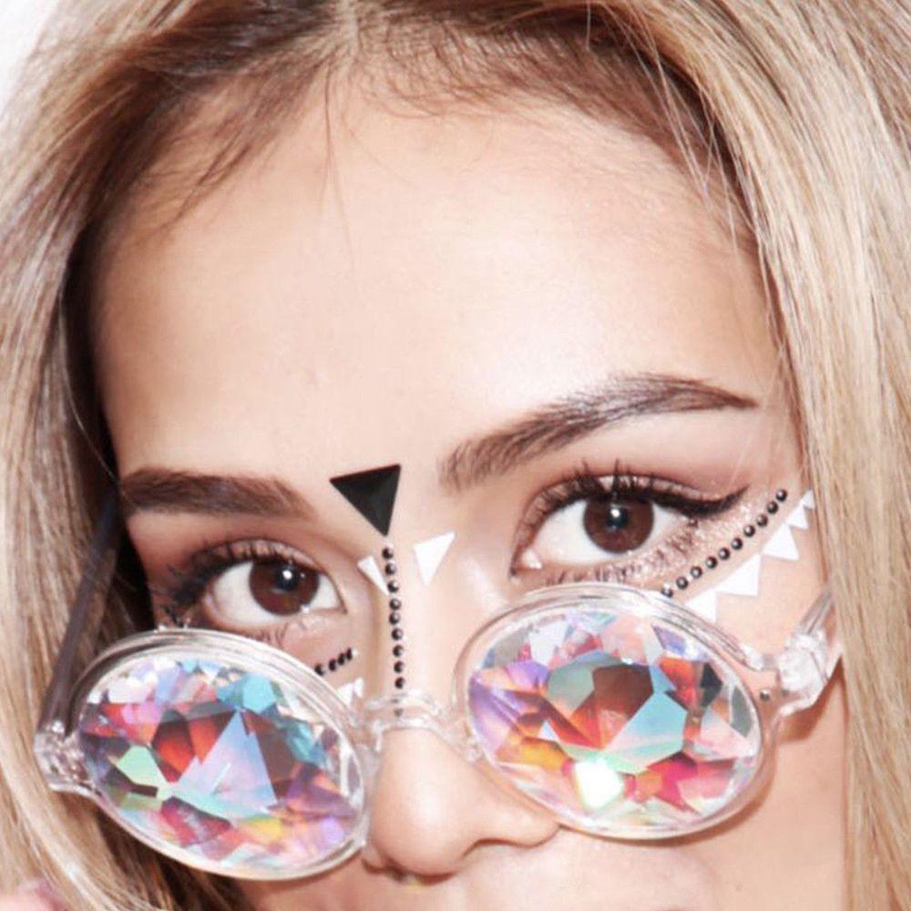 Fashion 1Pair Round Kaleidoscope Glasses Women rave festival Sunglasses Men Holographic Glasses Colorful Celebrity Party Eyewear