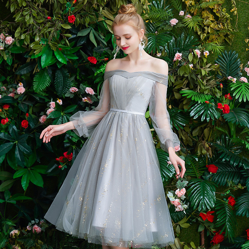 2019 New Style Autumn And Winter Slimming Sister Group Bridesmaid Dress Fairy Elegant Mid-length Star Dress Graduation Dress